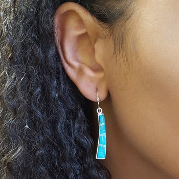 Turquoise Curved Dangle Earrings