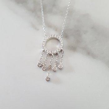 Diamond Chandelier Dream Catcher Pendant Necklace in 14k White Gold (1/7ctw)