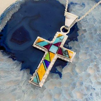 Multicolored Geometric Cross Pendant