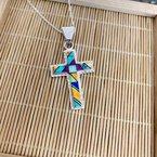 Arizona Turquoise and Inlaid Jewelry Multicolored Geometric Cross Pendant