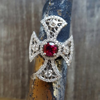 Vintage Gothic Cross Ring