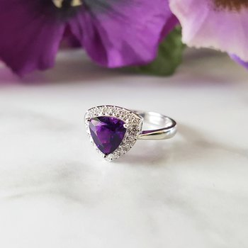 Trillion Cut Arizona Amethyst Ring