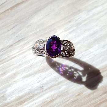 Amethyst Ring with Swirled Band Design