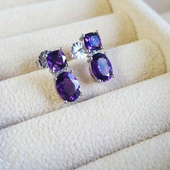 Double Stone Amethyst Stud Earrings