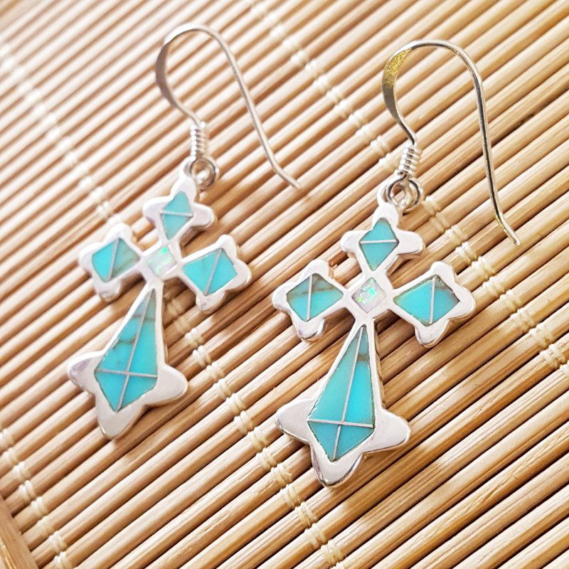 Arizona Turquoise and Inlaid Jewelry Antique Cross Earrings