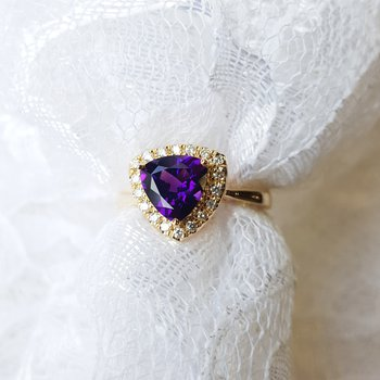 Trillion Halo Arizona Amethyst Ring