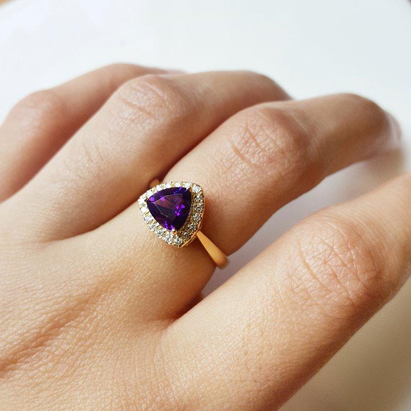 Arizona Amethyst™ Gold Jewelry Trillion Halo Arizona Amethyst Ring