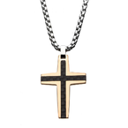 INOX Men's Jewelry Black and Rose Gold Plated with Carbon Fiber Link Inlay Cross Pendant with Steel Chain