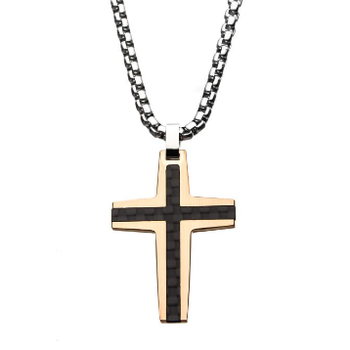 Black and Rose Gold Plated with Carbon Fiber Link Inlay Cross Pendant with Steel Chain