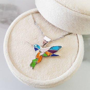 Fluttering Hummingbird Multi-Gem Pendant