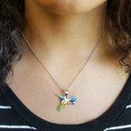 Arizona Turquoise and Inlaid Jewelry Fluttering Hummingbird Multi-Gem Pendant