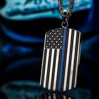 INOX Men's Jewelry American Flag Police Officer Military Style Dog Tag