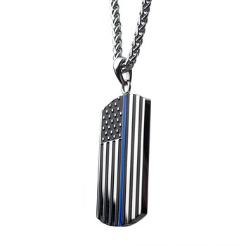 American Flag Police Officer Military Style Dog Tag