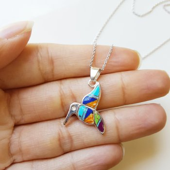 Multicolored Hummingbird Pendant
