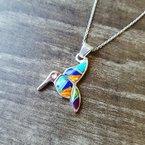 Arizona Turquoise and Inlaid Jewelry Multicolored Hummingbird Pendant