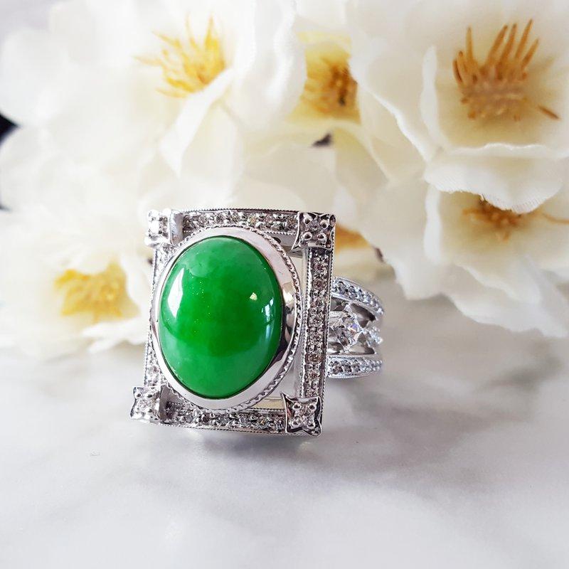 Luxury by Rene Hernandez Apple Green Jade Ring