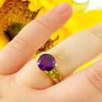 Arizona Amethyst™ Gold Jewelry Amethyst Ring with Peridot