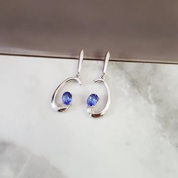 Tanzanite Curved Dangle Earrings