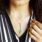 Arizona Turquoise and Inlaid Jewelry Geometric Drop Necklace