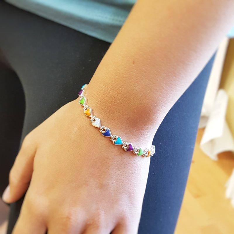 Arizona Turquoise and Inlaid Jewelry Multi-Gem Heart Bracelet