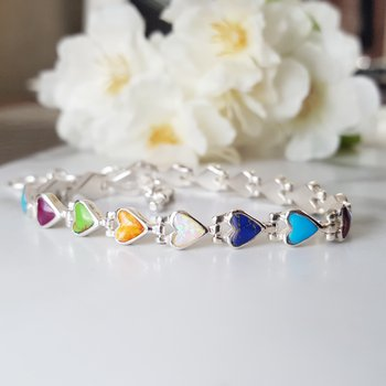 Multi-Gem Heart Bracelet