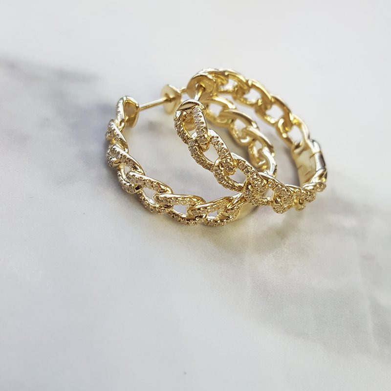Sami Fine Jewelry Gold Chain Style Hoops