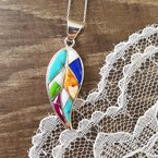 Arizona Turquoise and Inlaid Jewelry Multicolored Large Leaf Pendant
