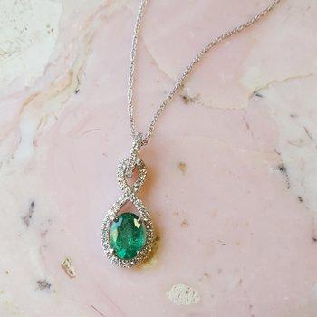 Emerald Oval Infinity Pendant