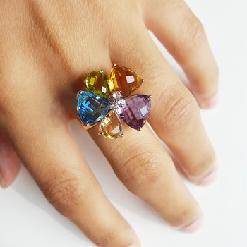 Multi-Gem Flower Cocktail Ring