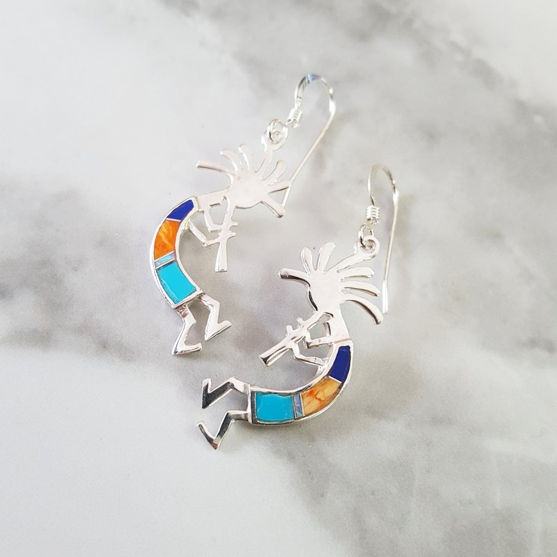 Arizona Turquoise and Inlaid Jewelry Kokopelli Flute Man Earrings