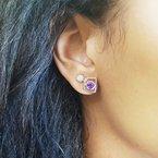 Arizona Amethyst™ Silver Jewelry Arizona State Outline Studs