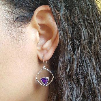 Framed Amethyst Dangle Earrings