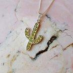 Arizona Peridot Silver Jewelry Saguaro Cactus Necklace