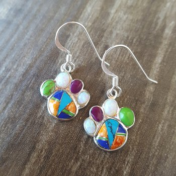 Multicolor Pawprint Earrings