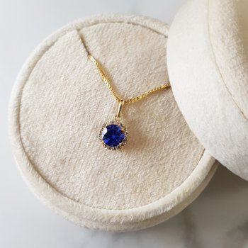 Sapphire Halo Necklace