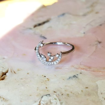 Crescent Moon Cascade Diamond Ring