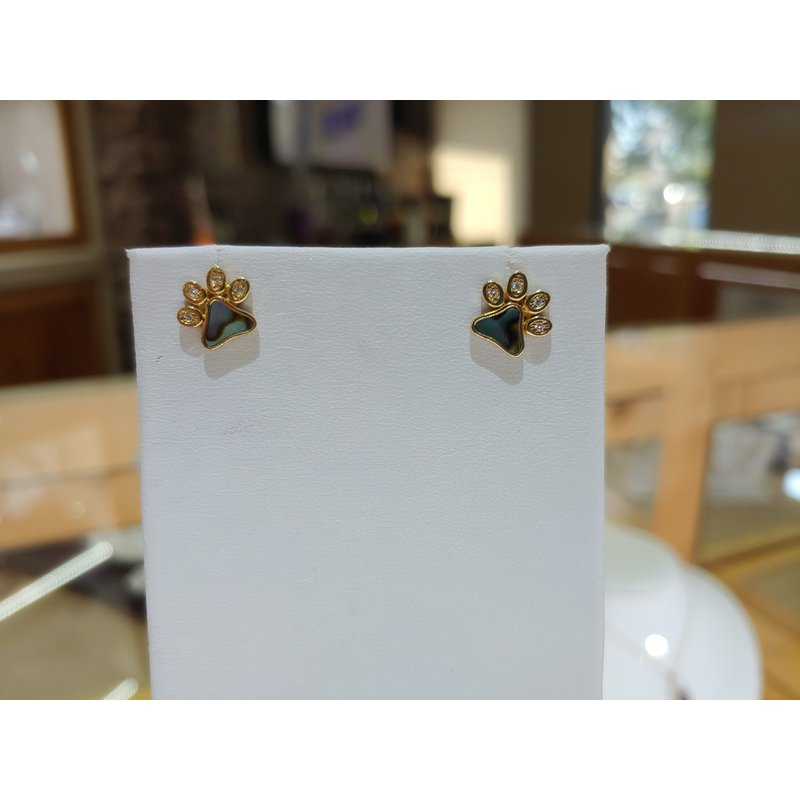 Sami Fine Jewelry Abalone Paw Earrings