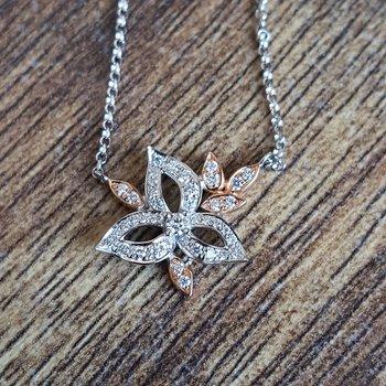 Floral Leaf Diamond Necklace