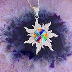 Arizona Turquoise and Inlaid Jewelry Multicolored Sun Pendant