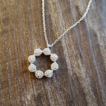 Diamond Halo Cluster Eternity Wreath Pendant Necklace in 14k White Gold (1/7 ctw)