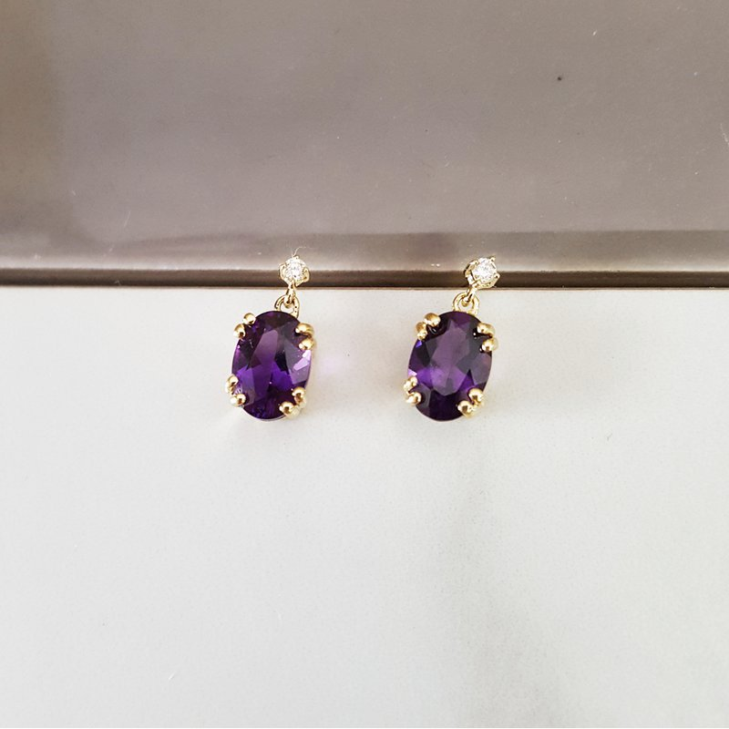 Arizona Amethyst™ Gold Jewelry Essential Double Prong Amethyst Studs