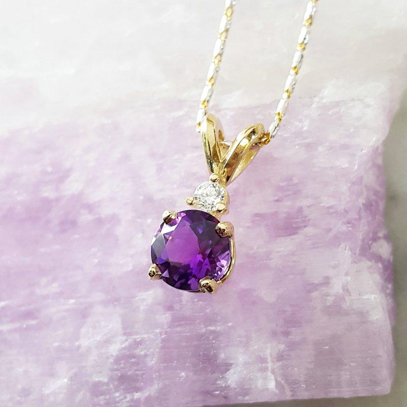Arizona Amethyst™ Gold Jewelry Round Accented Pendant