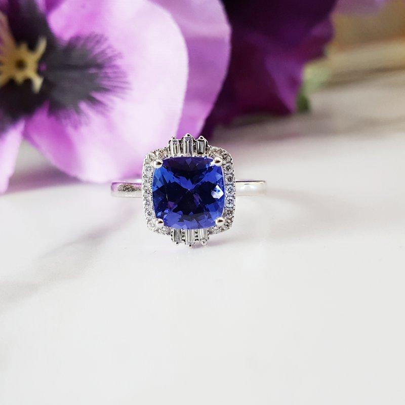 Sami Fine Jewelry Tanzanite Cushion Cut Ring