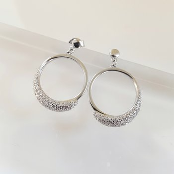 Diamond Pave Eternity Circle Hoop Stud Earrings in Sterling Silver