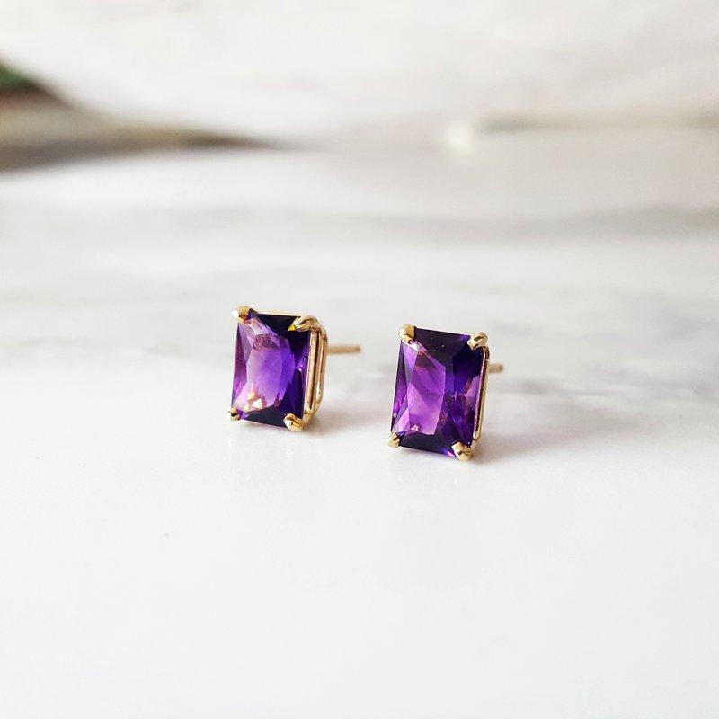 Arizona Amethyst™ Gold Jewelry Essential 1 1/2 Carat Radiant Studs