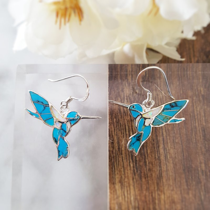Arizona Turquoise and Inlaid Jewelry Fluttering Hummingbird Earrings
