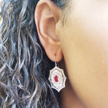 Ruby Starburst Earrings