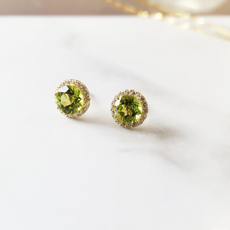 Sami Fine Jewelry Peridot and White Sapphire Studs