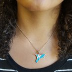Arizona Turquoise and Inlaid Jewelry Fluttering Hummingbird Pendant