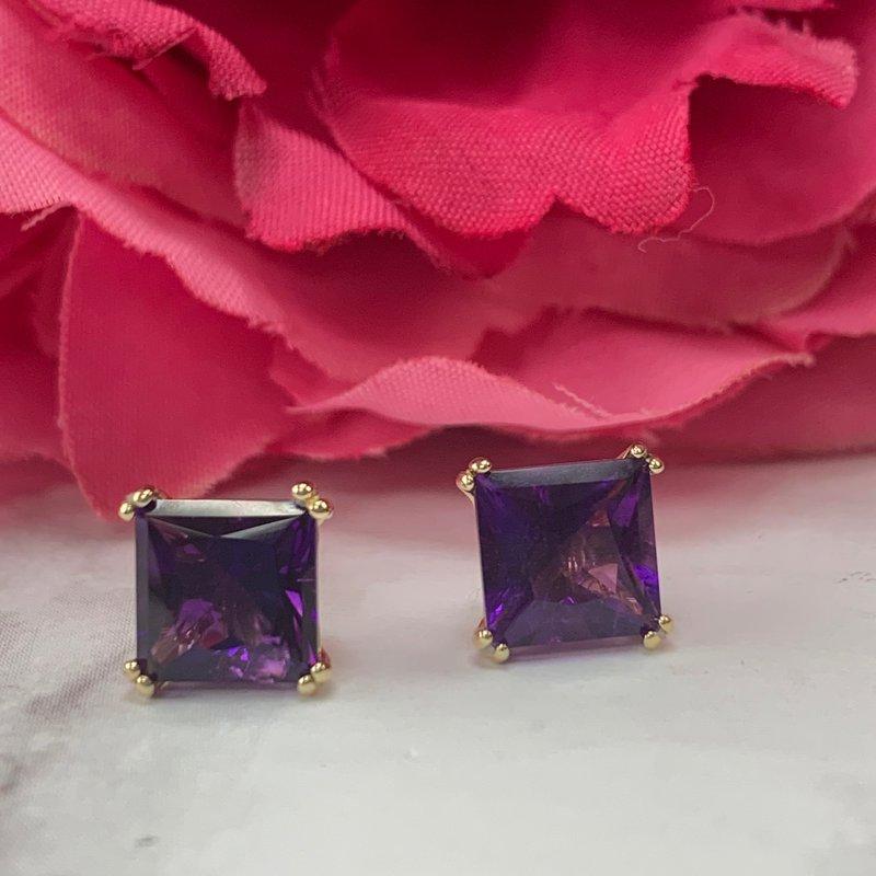 Arizona Amethyst™ Gold Jewelry Large Princess Stud